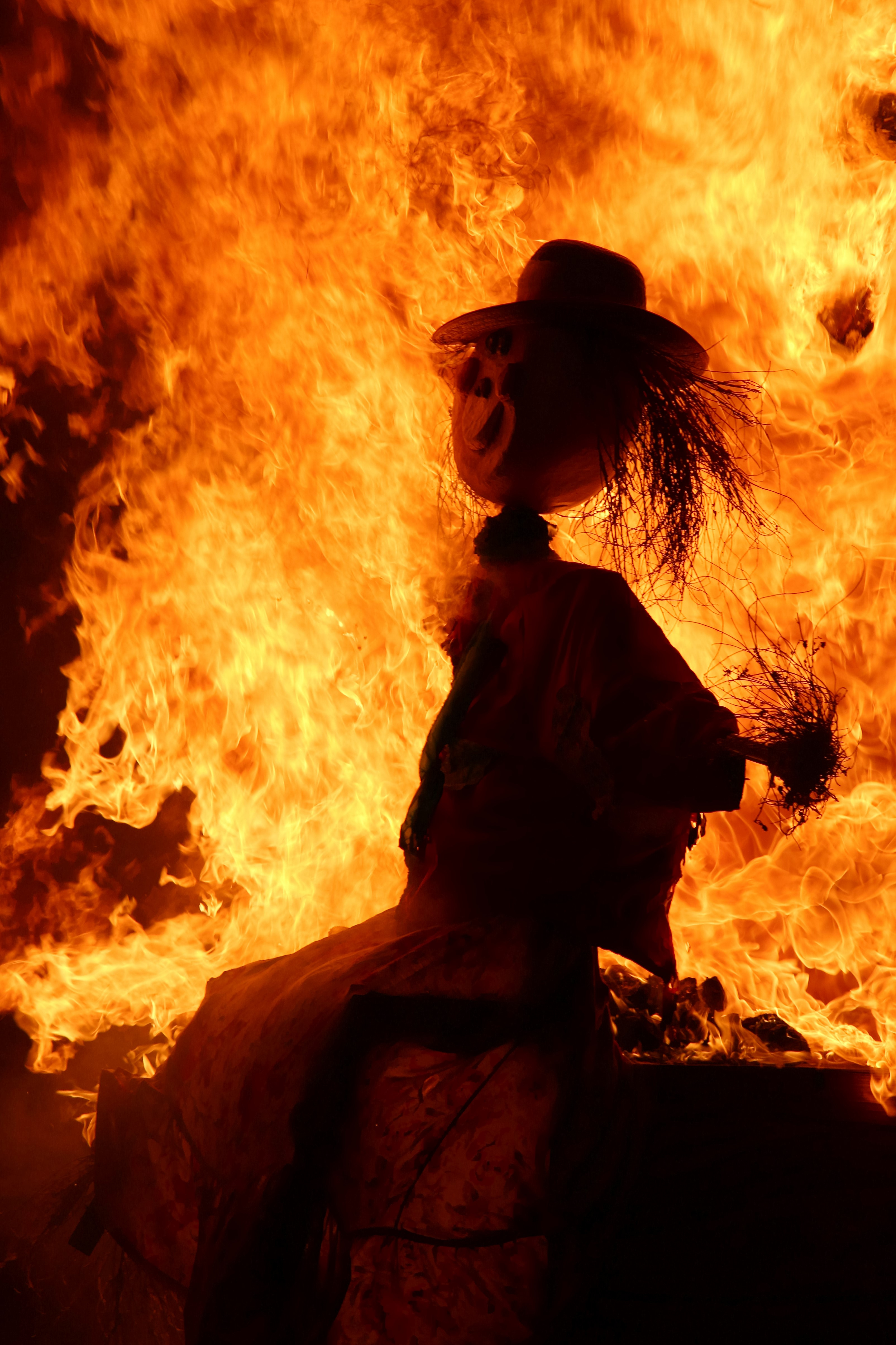scarecrow on fire